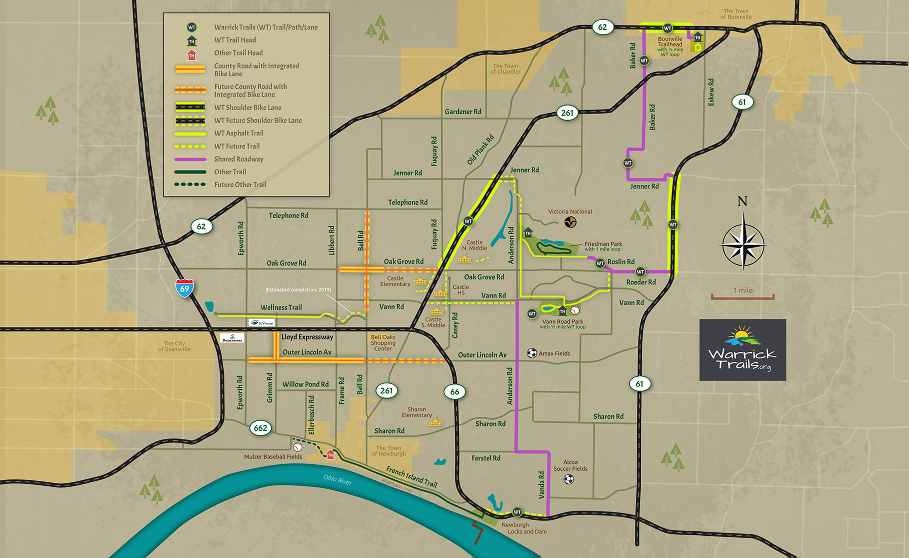 Warrick Trails Map